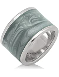 Joy Damen-Ring 925 Sterlingsilber rhodiniert Emaille Grau JA105R