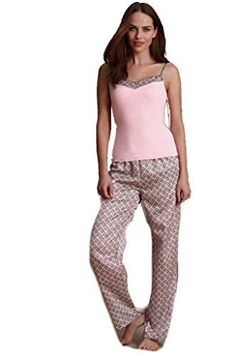 Marks & Spencer Pyjama-Set mit geometrischem Druck, Satin, ärmelloses Top und Hose Gr. 46, Schokoladenbraun/Pink