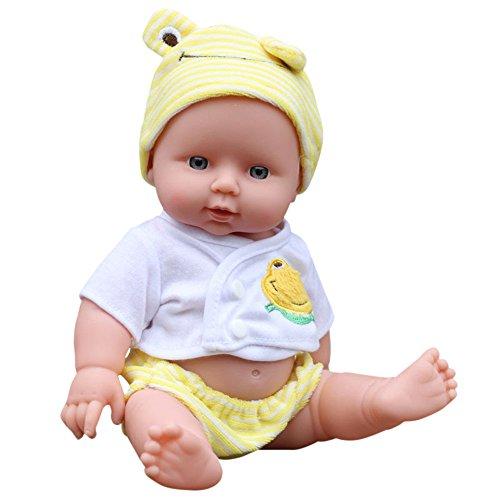 Ouneed- Baby Emulated Puppe Weiche Kinder Reborn Baby Doll Spielzeug Jungen Mädchen Geburtstagsgeschenk (Gelb)