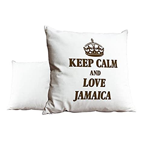 Marron Keep Calm and Love Jamaica Blanc Scatter Taie d'oreiller 1971
