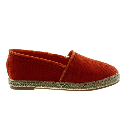 Angkorly Damen Schuhe Espadrilles Sandalen - Slip-On - Perforiert - Seil - Ausgefranst Blockabsatz 2 cm Rot