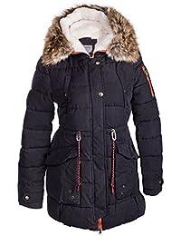 efff06457e77 Winter Damen Mantel Jacke Fell 2 in 1 Kapuze STEPP DAUNEN Parka LANG Pelz  Alaska S M L