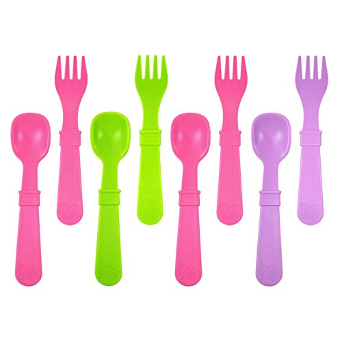 King of Play, Children's Cutlery Set, 4 Spoons and 4 x Fork | BPA Free | Sustainable Through Recycled Material | Made in USA Purple