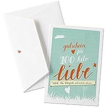 Romantische Hochzeitskarte, Glückwunschkarte, Valentinskarte - Gutschein für 100 Kilo Liebe - TÜRKIS ROT auf hochwertigem Büttenpapier mit Umschlag, zum Valentinstag, Hochzeitstag und weitere liebevolle Anlässe