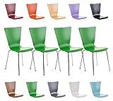 CLP 4er-Set Stapelstuhl Aaron mit Holzsitz und stabilem Metallgestell I 4X Platzsparender Stuhl mit Pflegeleichter Sitzfläche I In verschieden Farben erhältlich Grün