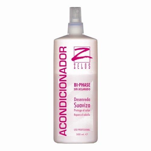 Acondicionador para el Cabello Sin Aclarado Bifásico - 500ml - Desenreda, Suaviza, Repara el pelo - Protector Térmico - Fija el color, Define el rizo - Uso Profesional - Zelos