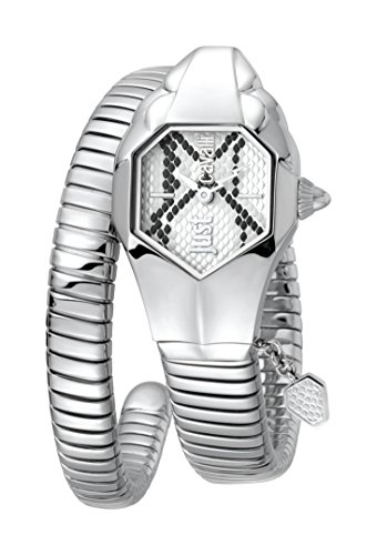 Just Cavalli Women's JC1L001M0115 JC DNA Silver Dial with Silver Stainless-Steel Band Watch.