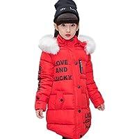 Abrigo para niña con capucha de pelo, largo, Akaufeng, chaqueta de invierno con capucha de pelos, capa exterior, chaqueta infantil, color rojo, tamaño 150 cm
