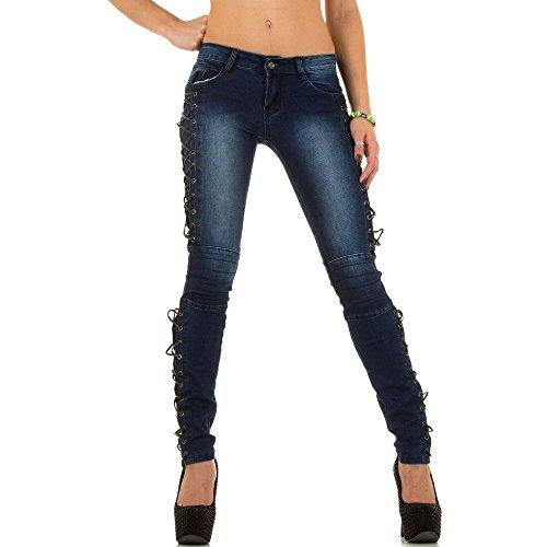 Damen Jeans Hose, Used Hüfthose Biker Skinny Nr.3 – Blau