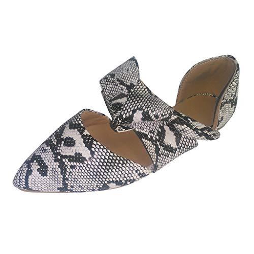 Pumps für Damen/Dorical Frauen Flache Unterseite RöMische Damenschuhe,Freizeit Sommer Sandalen Retro Snake Pattern Pointed Toe Sandalen Ausverkauf(Weiß,43 EU)