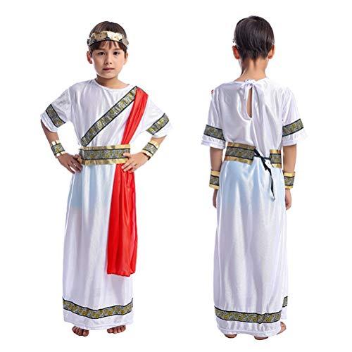 Geschichte Kostüm Römischen - Toyvian Alter römischer Junge Cosplay Kostüm für Geschichte Theme Halloween Rollenspiel Set Robe Gürtel Stirnband Armband Größe M