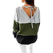 Yidarton Donna Manica Lunga Felpa Camicia Strisce Maniche Lunghe Felpe Top Per Autunno Primavera