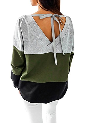 Women's Long Sleeve T Shirts Tops Casual Sweatshirt Loose Stripe Pullover Autumn Winter Sexy Blouses Lace Up Open Back (UK/10-12, Green)