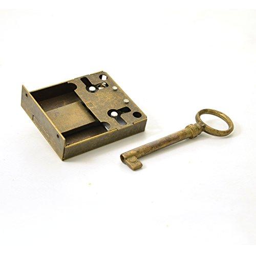 Kastenschloss (Dornmaß 40 mm) und Schlüssel aus Messing
