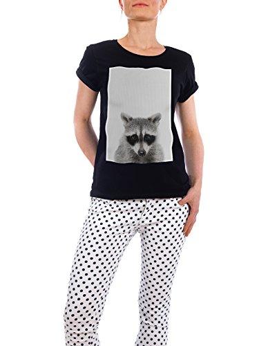"""Design T-Shirt Frauen Earth Positive """"Little Racoon"""" - stylisches Shirt Tiere Natur von Boris Draschoff Schwarz"""