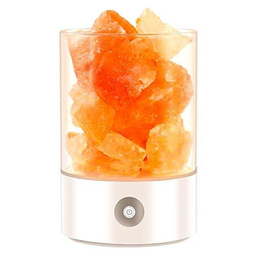 Ywt lampada di sale di cristallo himalayano usb ricaricabile naturale sale ioni negativi lampada con interruttore tattile comodino camera da letto luce di notte regalo di salute creativo,white