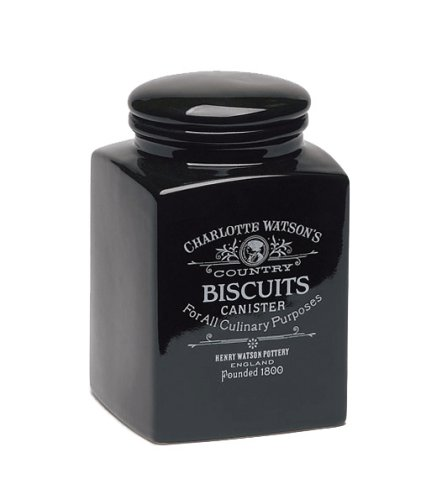 Charlotte Watson Square Large Biscuit Canister - Black
