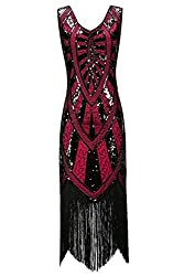 Metme 1920s Vintage Inspired Fringe Embellished Gatsby Flapper Midi Dress Prom Party (Xxl, Wine)