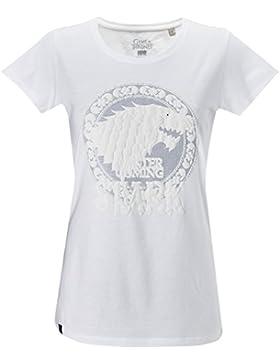 GOZOO Game of Thrones Camiseta Mujer Winds of Winter - House Stark Blanco