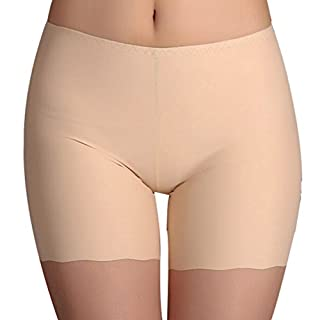 Amybria Women's Ice Silk Soft Stretch Safety Shorts Underwear Beige