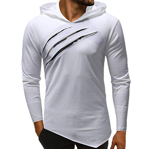 Sweat À Capuche Sport Sweat-Shirts pour Hommes Slim Fit Pull Funnel Neck Shirt À Manches Longues Top Pull Blouse Top Hoodie Blanc 3XL