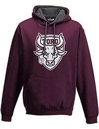 75e26ea95391fb KiarenzaFD Felpa Cappuccio Bicolore Uomo Taurus Toro Vecchio Cuore Granata  Ultras Tifo Calc