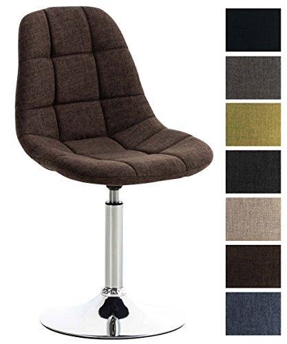 CLP Lounger EMIL mit Stoffbezug, Esszimmerstuhl mit gestepptem Sitz, Drehstuhl mit Trompetenfuß in Chromoptik, Braun
