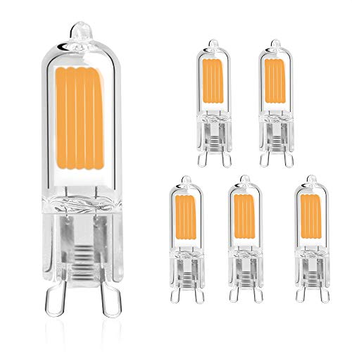Haisha LED G92W 230LM, AC220-240V, luce bianca calda 2700K, RA80, vetro Full Body, 20W 25W G9alogena da 35W, confezione da 5