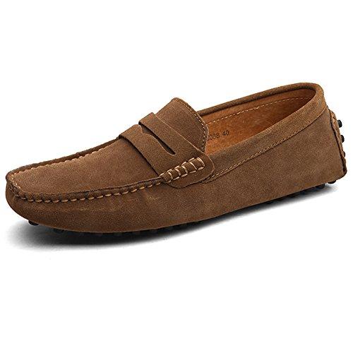 Herren Klassische Mokassin Lederschuhe Bootsschuhe Flache Slippers Wildleder Loafers Fahren Halbschuhe Khaki
