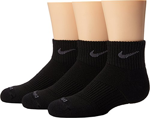 Nike Tennissocken Dri-Fit Half Cushion Quarter 3er Pack Black/Flint Grey, S, SX4835-001 (Pack Socks Nike Elite)