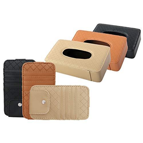 FELICIPP PU Leder Auto Visier Tissue Holder Mount, Multi-Use-Papier Handtuch Slim Cover Case, hängende Gewebe-Halter-Fall für Universal Car (Farbe : Braun, Size : 210 * 55 * 120mm) (Slim-tissue-box)