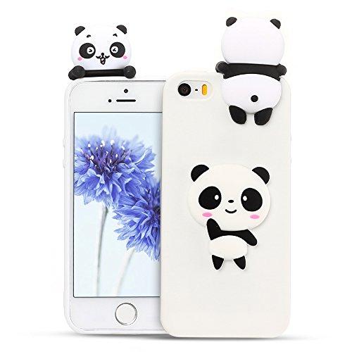 Mosoris Coque iPhone 5S 3D Motif Mode, iPhone Se Souple Housse Etui TPU Silicone Transparente Case Cover pour iPhone 5 / 5S / Se Très Mince Bumper Crystal Flexible Couverture, Panda Blanc