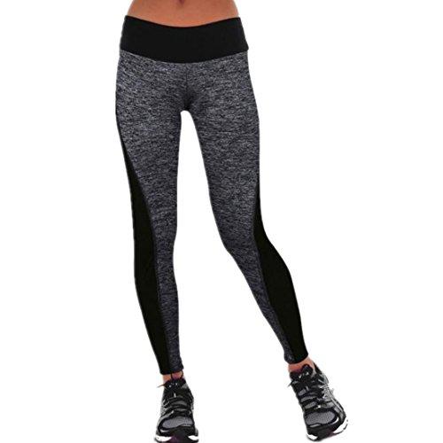 Ularmo Frauen Sport Hose athletische Gymnastik Workout Fitness Yoga Leggings Hose (Grau, XXL)