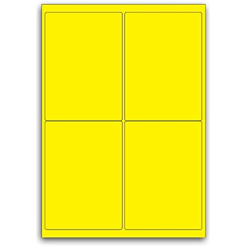 Packing Or Multi Purpose Yellow Round Cornered Label - 4 Labels Per Sheet - 500 (4 Round Etichette)