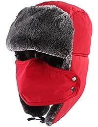 TANGIMP Unisex Klassische Trooper Winter-warmer Trappermütze Urban Wintermütze Fliegermütze Flieger russische Bomber Hut mit windundurchlässiges Maske Ohrenklappen