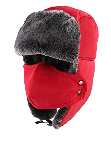 TANGIMP Unisex Klassische Trooper Winter-warmer Trappermütze Urban Wintermütze Fliegermütze Flieger russische Bomber Hut mit windundurchlässiges Maske Ohrenklappen