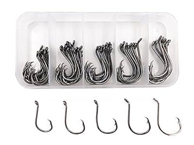 Milepet Octopus Circle Hooks Offset Fishing Hooks Black High Carbon Steel Octopus Fishing Hooks,Sizes 1#,1/0#,2/0#,3/0#,4/0#,75Pcs/Box by Milepet