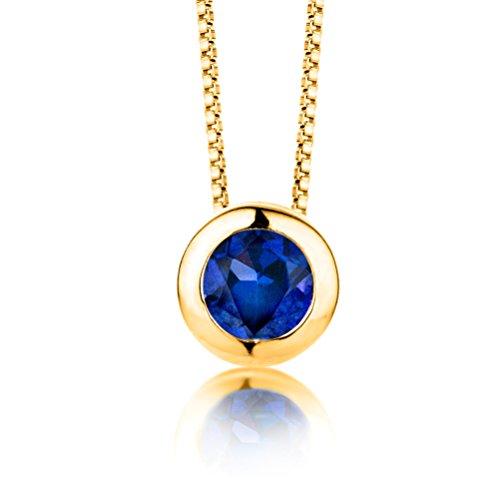 ByJoy Damen-Kette Mit Anhänger 925 Sterling- Silber Rundschliff Blau Synthetischer Saphir 45cm, gold(Synthetischer Saphir) (Blauen Saphir-gold-halskette)