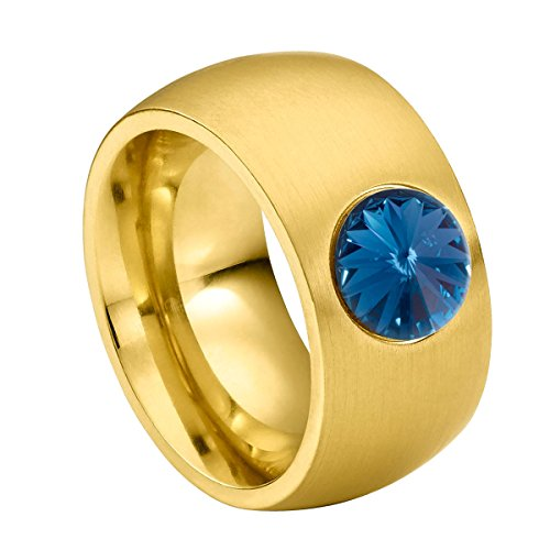 Heideman Ring Damen Coma 11 aus Edelstahl Gold farbend matt Damenring für Frauen mit Swarovski Stein Kristall Montana blau im Fantasie Edelsteinschliff 8mm