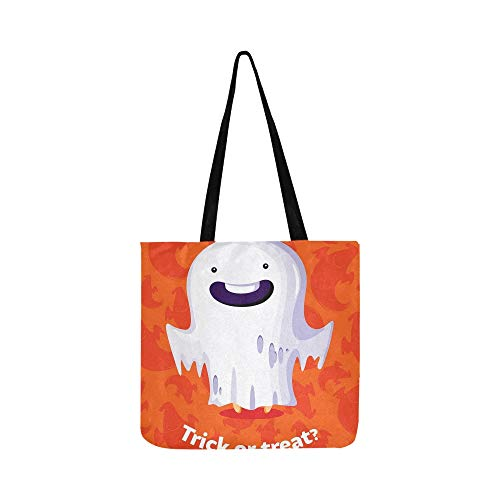Halloween Poster Trick Treat Geist Leinwand Tote Handtasche Umhängetasche Crossbody Taschen Geldbörsen Für Männer Und Frauen Einkaufstasche