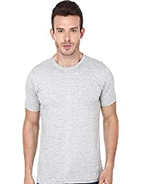 Mens Round Neck Plain T Shirt In White Melange Cotton T Shirt