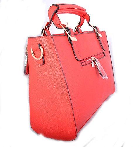 LeahWard® Damen Mode Tasche Damen Essener Berühmtheit Tote Handtasche Reißverschluss Essen Mittel-Klein Größe Qualität Kunstleder Taschen Geschenk CWRM150967 CWRB160120 CWRM150967-Scarlet