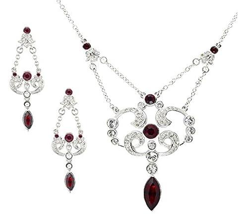 Cristalina Halskette rhodiniert Edwardianischer Stil Siam Swarovski Kristall und Ohrring Set (1920 Bride Kostüm)