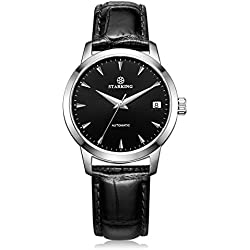 STARKING Men's AM0184SL22 Automatic Mechanical Watch with Black Genuine Leather Strap