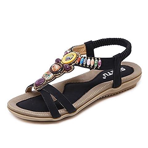 ZOEREA Femmes Sandales été Bohemia Flat Sandales Mode PU Cuir Femmes Chaussures