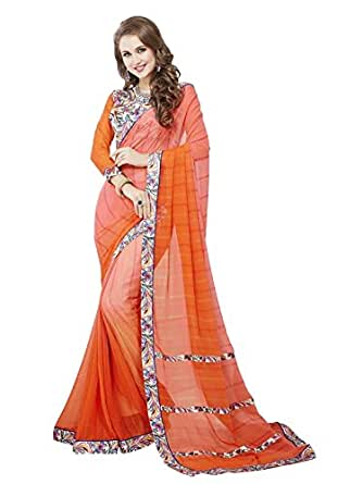 16fc430abb7bda Ambika Sarees Collection Embroidered Multi Coloured Printed Georgette Saree  With Blouse Material