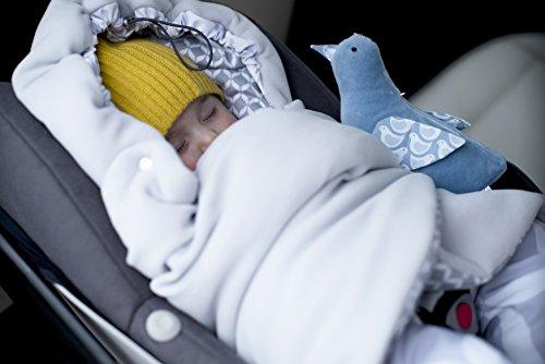 Baby Winter-Einschlagdecke für Babyschale, Autositz, Kinderwagen, Fahrradanhänger, Buggy, Babybett, Muster: blau classics