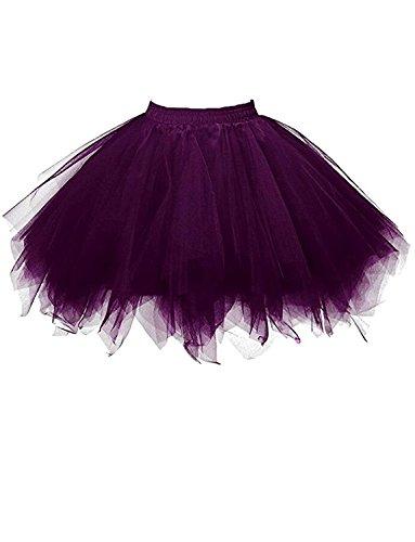 RuiyuhongE Frauen 1950er Jahre Vintage Short Petticoat Ballett Bubble Tutu Rock (S/M, Lila) (Lila Tutu)