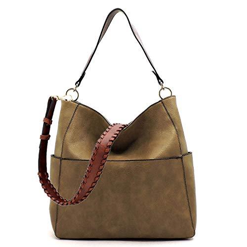 Amy & Joey Vegan Kunstleder-Handtasche mit mehreren Taschen, quadratisch, Hobo-Schultertasche mit gepflegten Gurt, Braun (mokka), Large