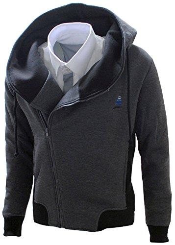 Listland ® Sweatjacke mit Farbkontrasten Herren Sweatshirt mit Kapuze anthrazit